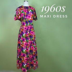 VINTAGE Floral Pink Mod A-line Maxi Dress 1960s